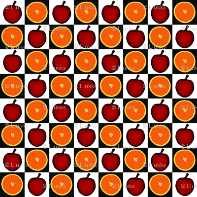 Apples and Orange Checkerboard Upholstery Fabric