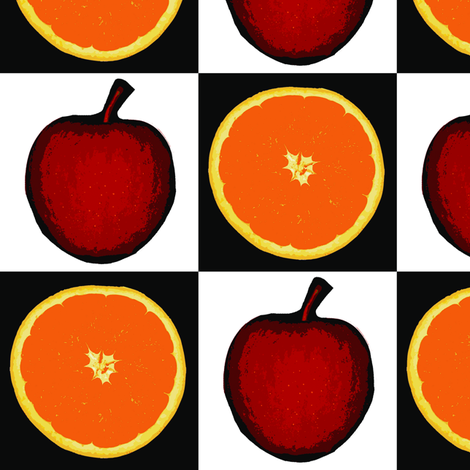 Apples and Orange Checkerboard Upholstery Fabric fabric by llukks on Spoonflower - custom fabric