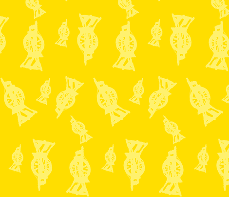 Spinning Wheels- yellow resist fabric by luvinewe on Spoonflower - custom fabric