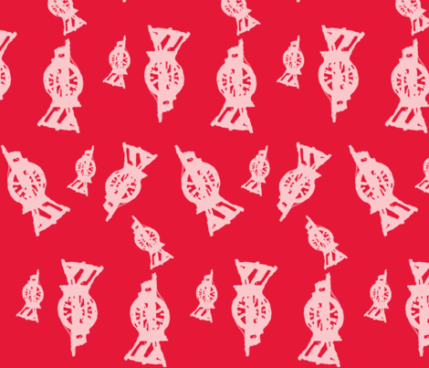 Spinning Wheels- red resist fabric by luvinewe on Spoonflower - custom fabric