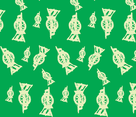 Spinning Wheels- green resist fabric by luvinewe on Spoonflower - custom fabric