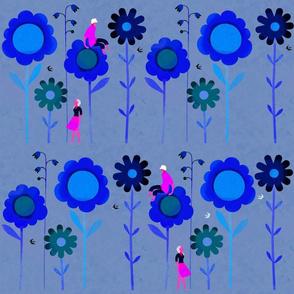Big Flowers with Boy & Girl in Dark Blue