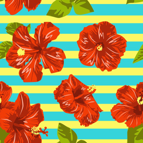Summer Red Hibiscus Seamless Pattern