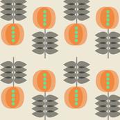 Botanical pattern in orange hues