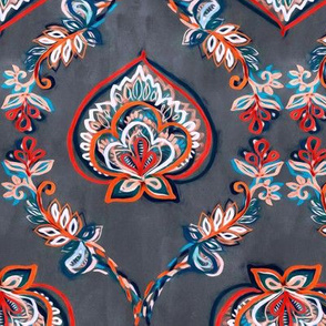 Red & Blue Floral Ogees on Textured Grey - medium