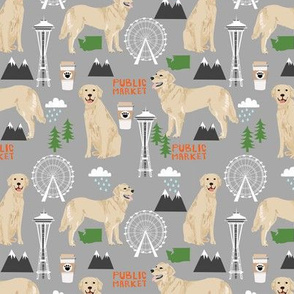 Golden Retriever Seattle Washington dog lover pet fabric grey
