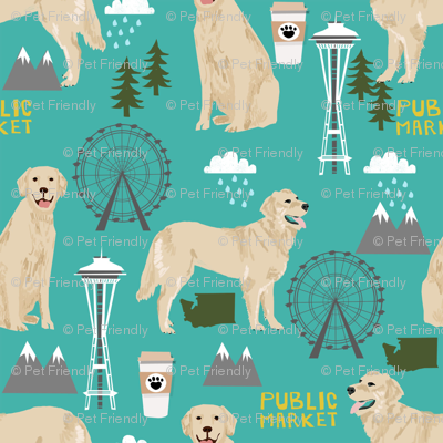 Golden Retriever Seattle Washington dog lover pet fabric turquoise