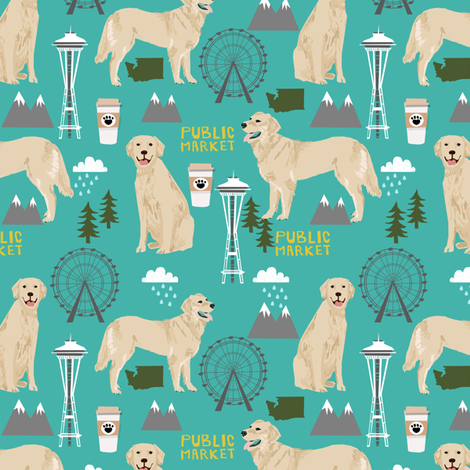 Golden Retriever Seattle Washington dog lover pet fabric turquoise fabric by petfriendly on Spoonflower - custom fabric