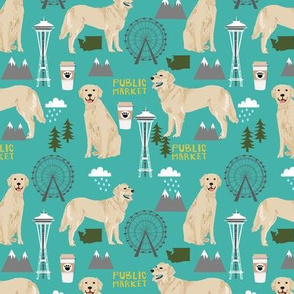 Golden Retriever Seattle Washington dog lover pet fabric turquoise