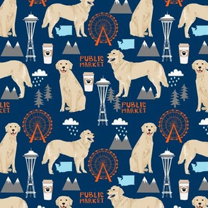 Golden Retriever Seattle Washington dog lover pet fabric navy