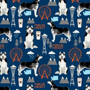 Husky Seattle Washington dog lover pet fabric navy