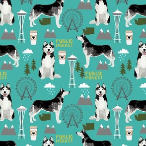 Husky Seattle Washington dog lover pet fabric turquoise