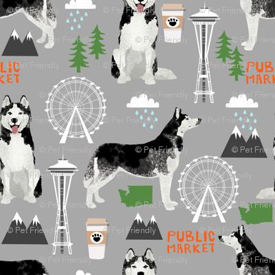 Husky Seattle Washington dog lover pet fabric grey