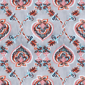 Coral & Aqua Floral Ogees on Textured Light Grey - small