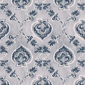 Navy & White Floral Ogees on Textured Light Grey - small