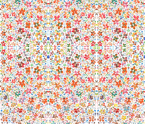 Pink and Red Flowers  fabric by little_flower_designs on Spoonflower - custom fabric