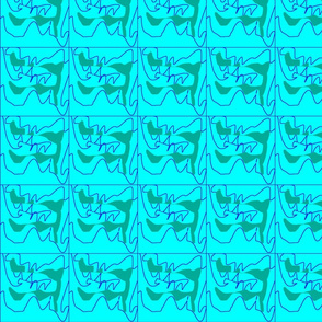Blue Blue and Green Abstract