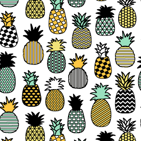 Geometric Pineapples fabric by thinlinetextiles on Spoonflower - custom fabric