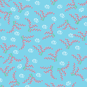 Floral pattern pink on blue