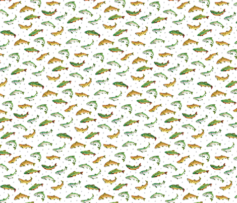 Trout Party: Rainbow, Brook, and Brown Trout fabric by wildship on Spoonflower - custom fabric