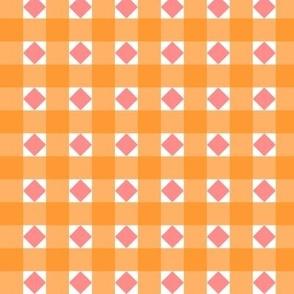 Orange checks with dusky pink diamonds