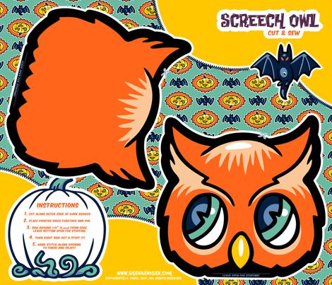 Halloween Hoopla - Owl - Cut & Sew fabric by shannanigan on Spoonflower - custom fabric