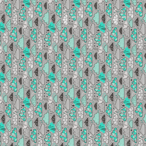 Clouds Bolts Lightning Raindrops Geometric Patterned Cloud Doodle Green on Grey Tiny Small fabric by caja_design on Spoonflower - custom fabric