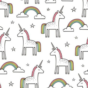 Cute Unicorn Rainbow on White