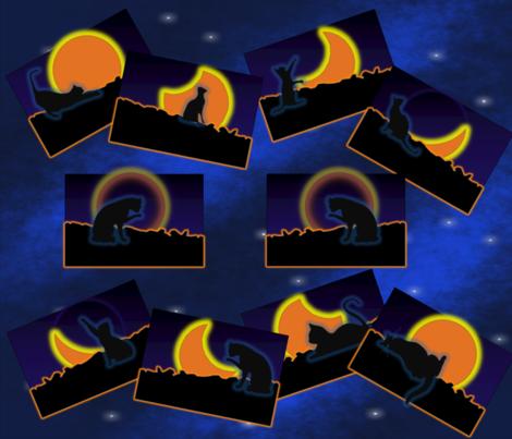 Geddycats_solar_eclipse_dance_blue fabric by quizzicalkittydesigns on Spoonflower - custom fabric