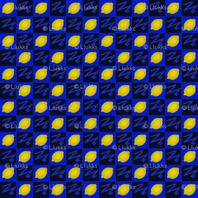 Lemons Checkerboard Blue Upholstery Fabric