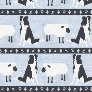 Primitive Border Collie and sheep border - slate blue Large width