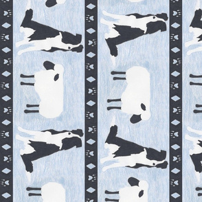 Primitive Border Collie and sheep border - slate blue Large length