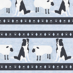 Primitive Border Collie and sheep border - slate blue extra wide border