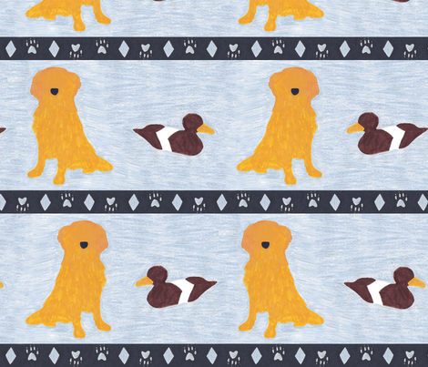 Primitive Golden Retriever and duck decoy - slate blue large border width fabric by rusticcorgi on Spoonflower - custom fabric