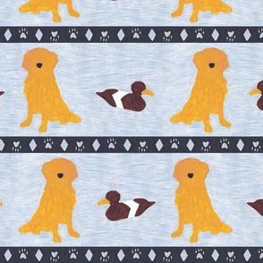 Primitive Golden Retriever and duck decoy - slate blue large border width