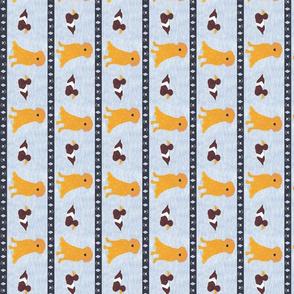 Primitive Golden Retriever and duck decoy - slate blue small border length