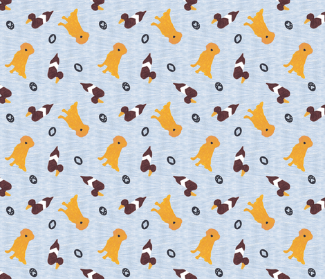 Primitive Golden Retriever and duck decoy - slate blue ditzy fabric by rusticcorgi on Spoonflower - custom fabric