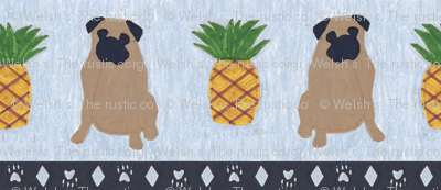 Primitive Pug and pineapple - slate blue large border width