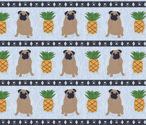 Primitive Pug and pineapple - slate blue large border width fabric by rusticcorgi on Spoonflower - custom fabric