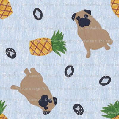Primitive Pug and pineapple - slate blue ditsy