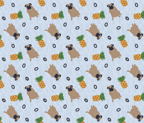 Primitive Pug and pineapple - slate blue ditsy fabric by rusticcorgi on Spoonflower - custom fabric