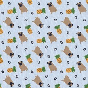 Primitive Pug and pineapple - slate blue ditsy