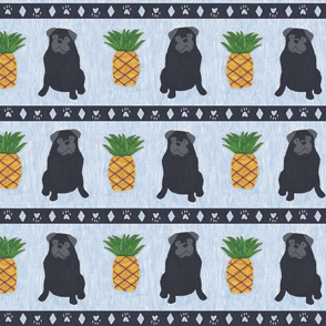 Primitive Pug and pineapple - slate blue large border width black