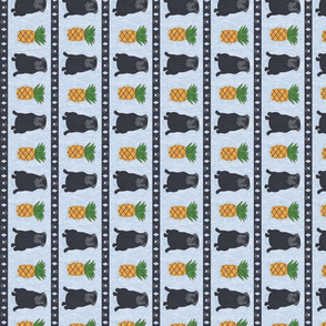 Primitive Pug and pineapple - slate blue small border length black