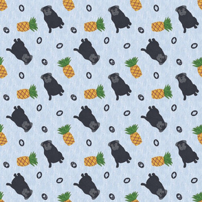 Primitive Pug and pineapple - slate blue ditsy black
