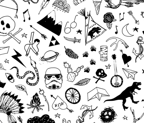 Hip Kid Collection (LARGE) fabric by nouveau_bohemian on Spoonflower - custom fabric