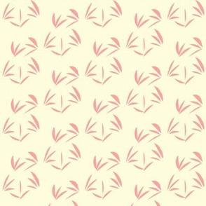 Pretty Pink OrientalTussocks on Magnolia Cream - Small Scale
