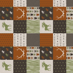 "3"" Moose Quilt - Redstone Canyon with Olive Green"