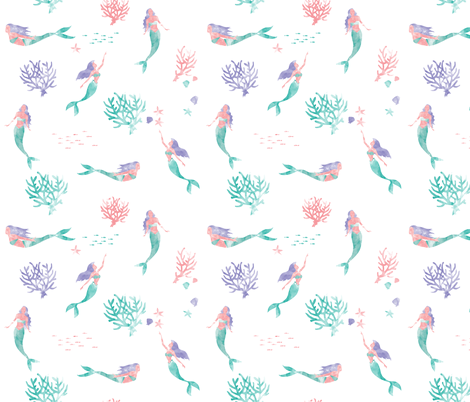 Watercolor Mermaids fabric by xtinew on Spoonflower - custom fabric