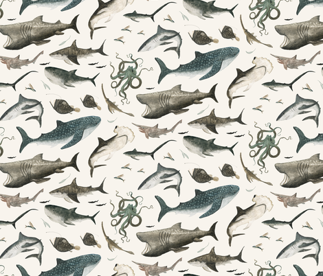 Shark fabric by katherine_quinn on Spoonflower - custom fabric